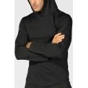 Cool Mens Sweatshirt Solid Color Breathable Drawstring Slim Fitted Long Sleeve Hoodie