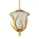 1 Head Carillon Down Lighting Farmhouse Light Brown Opal Glass Pendant Lamp with Antler Decoration