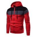 Mens Classic Contrast Color Stripe Patchwork Long Sleeve Zipper Slim Fit Drawstring Hoodie