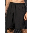 Cool Mens Shorts Solid Color Breathable Quick Dry Elastic Waist Regular Fitted Sport Shorts
