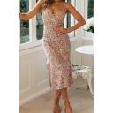 Resort Womens Midi Dress Floral Print Sleeveless V-Neck Spaghetti Strap Fitted Cami Dress with Slit