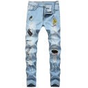 Men's Stylish Light Blue Patched Distressed Holey Slim Fit Denim Jeans