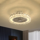 Circle LED Ceiling Fan Contemporary Metal Chrome Semi-Flush Mount with Clear Crystal Rod Deco