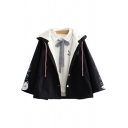 Novelty Womens Cape Coat Cat Fish Bubble Embroidery Thickened Drawstring Button Detail Loose Fit Long Sleeve Hooded Cape Coat