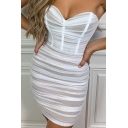 Womens Dress Fashionable Solid Color Ruched Panel Strapless Sweetheart Neck Sleeveless Slim Fitted Mini Bodycon Dress