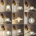 Brass Finish Single-Bulb Wall Lamp Rustic Clear Ribbed/Lattice Glass Bowl/Ruffled Wall Mounted Lighting with Swing Arm