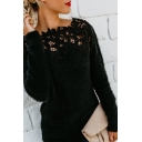 Fashion Women's Sweater Appliques Hollow out Lace Trims Solid Color Regular Fitted Pullover Sweater