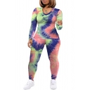 Fashion Women's Co-ords Tie Dye Pattern V Neck Long Sleeves Slim Fitted T-Shirt and Pants Set