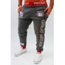 Men's Fashion Letter GREAT BRITAIN Printed Drawstring Waist Cotton Sweatpants