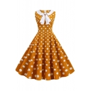 Creative Womens Dress Polka Dot Pattern Turn down Bowknot Collar Sleeveless A-Line Slim Fitted Midi Swing Dress