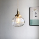 Brass Single Pendant Light Fixture Retro Green/Blackish Green/Clear Glass Pumpkin Shaped Small Hanging Lamp