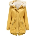 Womens Parkas Casual Plain Thick Flap Pockets Drawstring Waist Detachable Fur-Trimmed Hood Zipper up Slim Fit Long Sleeve Mid-Length Parkas