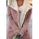 Warm Stylish Ladies' Long Sleeve Turn Down Collar Button Down Pocket Side Sherpa Liner Plain Relaxed Coat
