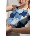 Vintage Womens Cami Top Color Block Panel Denim Lace up Open-Back Slim Fitted Halter Neck Cropped Camisole