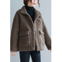 Youthful Sherpa Coat Solid Color Button-down Flap Pockets Stand Collar Long Sleeves Brushed Fitted Sherpa Coat for Women