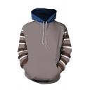 Classic Mens Hoodie Color Block Stripe Pattern Drawstring Kangaroo Pocket Slim Fitted Long Sleeve Hoodie