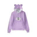 Womens Hooded Sweatshirt Simple Cartoon Animal Pattern Cat Ear Drawstring Kangaroo Pocket Loose Fit Long Sleeve Hooded Sweatshirt