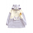 Cool Womens Hoodie Color Block Cat Embroidered Front Pocket Horn Hood Drawstring Long Sleeve Relaxed Fitted Hoodie
