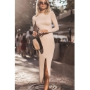 Sexy Ladies Solid Color Long Sleeve Crew Neck Cut out Back Slit Front Mid Bodycon Dress