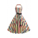 Women's Vintage Colorful Striped Print Halter Neck Sleeveless Midi A-Line Flared Dress
