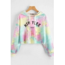 Womens Hoodie Fashionable Tie Dye Number Letter New York Pattern Drawstring Regular Fitted Long Sleeve Cropped Hoodie
