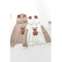Novelty Womens Hoodie Teddy Bear Letter Beloved Print Drawstring Long Plaid-Sleeve Relaxed Fitted Hoodie