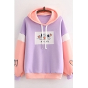 Womens Hoodie Simple Contrast Panel Dog Heart Japanese Letter Print Drawstring Long Sleeve Relaxed Fitted Hoodie