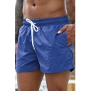Cool Mens Shorts Solid Color Drawstring Waist Regular Fitted Quick-Dry Beach Shorts