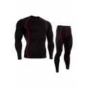 Novelty Mens Co-ords Contrasted Topstitching Quick-Dry Slim Fitted Pants Crew Neck Long Sleeve Tee Workout Co-ords