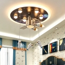 Black Space Station Flush Light Kids 9-Light Acrylic Ceiling Lighting with Hanging Spacemen