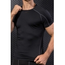 Vintage Mens Sport T-Shirt Contrasted Topstitching Short Sleeve Round Neck Skinny Fitted Quick-Dry Tee Top