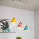 Macaron 3-Light Cluster Pendant Blue-Pink-Yellow/Black-Grey-White Cone Hanging Light with Metal Shade and Round/Linear Canopy, Warm/White Light