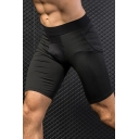 Classic Mens Shorts Contrast-Waistband Flatlock Stitching Air Mesh Quick-Dry Stretch Skinny Fitted Sport Shorts