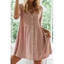 Nice T Shirt Dress Plain Pleated Waist Button Short Sleeve V-Neck Loose Shirt Dress for Women