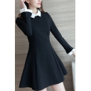 Fancy Style Color Block Contrast Lapel Mini Shift Dress
