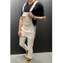 Whole Colored Multi-Pocket Relaxed Fit Jeans Suspender Pants
