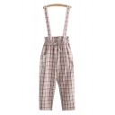 Cool Womens Overalls Plaid Pattern Pocket Button Drawstring Paperbag Waist Elastic Ankle Length Overalls
