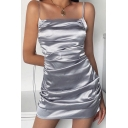 Womens Dress Stylish Solid Color Ruched Side Spaghetti Strap Sleeveless Slim Fitted Mini Bodycon Dress