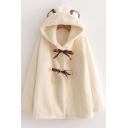 Womens Jacket Creative Bow Tie Detail Bear Ear Thickened Cardigan Loose Fit Long Sleeve Furry Jacket