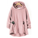 Womens Hoodie Fashionable Cat Embroidered Double-Sided Fleece Button Hem Drawstring Kangaroo Pocket Tunic Loose Fit Long Sleeve Hoodie