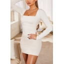 Creative Womens Dress Solid Color Ruched Detail Lace up Open-Back Mini Slim Fitted Square Neck Long Puff Sleeve Bodycon Dress