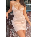 Unique Womens Dress Solid Color Cross Front Spaghetti Strap Invisible Zipper Back Slim Fitted V Neck Mini Bodycon Sleeveless Slip Dress