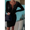 Trendy Dress Solid Color Button Flap Pockets Crew Neck Long Sleeve Short Bodycon Dress for Women