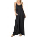 Leisure Women's Slip Dress Solid Color Side Pockets V Neck Maxi Slip Dress