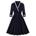 Womens Dress Chic Tape Trim Buckle Belted 3/4 Sleeve Midi A-Line Slim Fitted Surplice Neck Swing Dress