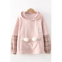 Womens Hoodie Casual Rabbit Strawberry Letter Pattern Ear-Hood Drawstring Plaid-Patchwork Long Sleeve Relaxed Fitted Hoodie