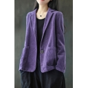 Classic Womens Jacket Solid Color Cord Front Double Pocket One-Button Lapel Collar Regular Fit Long Sleeve Suit Jacket