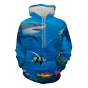 Cute Boys Long Sleeve Drawstring Fish Shark Ocean 3D Print Loose Blue Hoodie with Pocket