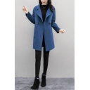 Stylish Women's Wool Coat Solid Color Single-Breasted Notched Collar Long Sleeve Regular Fitted Wool Coat