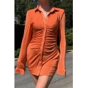 Vintage Womens Dress Plain Ruched Button Placket Suede Mini Turn-down Collar Long Sleeve Slim Fitted Mini Bodycon Shirt Dress